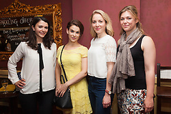 © Licensed to London News Pictures. 29/06/2015.  London, UK. L-R: actors Selma Brook, Emily Altneu, Emily Bowker and Cloudia Swann at the after show party. . Author Sebastian Faulks joins the Birdsong cast as he takes a role in the play at Richmond Theatre. Birdsong, adapted from the Sebastian Faulks novel by Rachel Wagstaff, is performed at Richmond Theatre until 4 July 2015 which finishes the UK tour. Photo credit: Bettina Strenske/LNP
