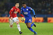 Leicester City midfielder Demarai Gray (22) during the Premier League match between Leicester City and Manchester United at the King Power Stadium, Leicester, England on 5 February 2017. Photo by Jon Hobley.