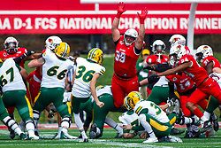 NORMAL, IL - October 05: John Ridgeway stretches big to try and block a point after by Griffin Crosa during a college football game between the ISU (Illinois State University) Redbirds and the North Dakota State Bison on October 05 2019 at Hancock Stadium in Normal, IL. (Photo by Alan Look)