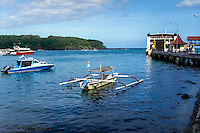 Bali, Karangasem, Padangbai. The Padangbai port with the ferries to Lombok in the background. Some tourism here as well.