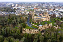Aerial view of Dunfermlne Abbey and Palace and city to Rear,  Dunfermline, Fife, Scotland, UK