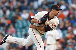 May 25, 2011; San Francisco, CA, USA;  San Francisco Giants starting pitcher Madison Bumgarner (40) pitches against the Florida Marlins during the first inning at AT&T Park. Florida defeated San Francisco 7-6 in twelve innings.
