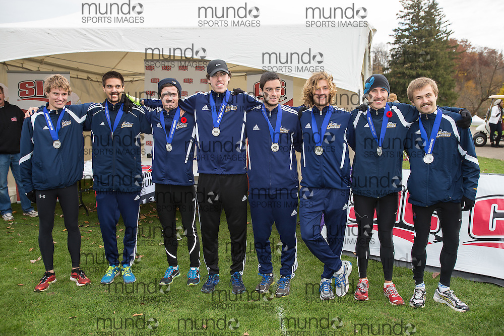 Award Ceremony at the 2013 CIS Cross Country Championships in London Ontario, Saturday,  November 9, 2013.<br /> Mundo Sport Images/ Geoff Robins