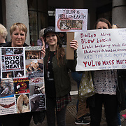 """London, UK. 27 April 2018: noise Animal rights activists assembly at Convent Garden march to the Chinese Embassy demand the Chinese Yulin """"Festival"""" to stop."""