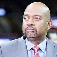 08 June 2016: ESPN Analyst Michael Wilbon is seen prior to the Cleveland Cavaliers 120-90 victory over the Golden State Warriors, during Game Three of the 2016 NBA Finals at the Quicken Loans Arena, Cleveland, Ohio, USA.