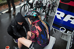Final preparations for Hannah Barnes (GBR) of CANYON//SRAM Racing before the Trofeo Alfredo Binda - a 131,1 km road race, between Taino and Cittiglio on March 18, 2018, in Varese, Italy. (Photo by Balint Hamvas/Velofocus.com)