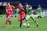 Forest Green Rovers Matty Stevens(9) on the ball during the EFL Sky Bet League 2 match between Forest Green Rovers and Scunthorpe United at the New Lawn, Forest Green, United Kingdom on 7 December 2019.