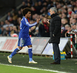 Chelsea Manager, Jose Mourinho embraces Chelsea's Willian as he comes off the pitch. - Photo mandatory by-line: Alex James/JMP - Mobile: 07966 386802 - 17/01/2015 - SPORT - football - Swansea - Liberty Stadium  - Swansea  v Chelsea  -