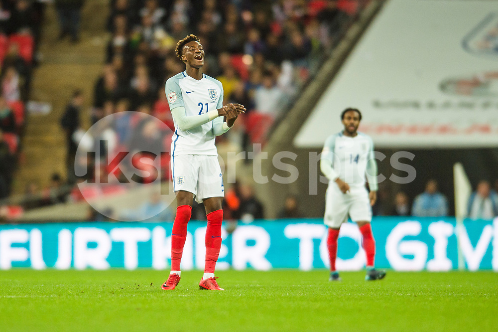 Tammy Abraham of England can not believe a pass was intercepted at the last minute during the international friendly match between England and Brazil at Wembley Stadium, London, England on 14 November 2017. Photo by Darren Musgrove.
