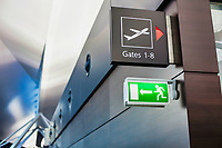 Photo of empty boarding gate sign in airport
