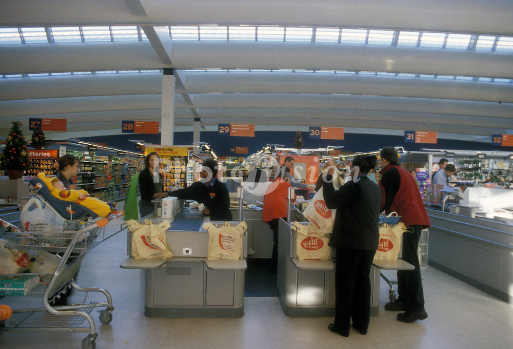 Checkouts at new Sainsburys in Greenwich SE London UK