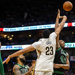 Mar 18, 2018; New Orleans, LA, USA; New Orleans Pelicans forward Anthony Davis (23) blocks a shot by Boston Celtics forward Al Horford (42) during the second half at the Smoothie King Center. Mandatory Credit: Derick E. Hingle-USA TODAY Sports