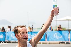 Blind Sandi Novak of Slovenia celebrates at finish line of the Men's Marathon - T12 Final during Day 11 of the Rio 2016 Summer Paralympics Games on September 18, 2016 in Copacabana beach, Rio de Janeiro, Brazil. Photo by Vid Ponikvar / Sportida