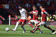 Gil Dias (31) of Nottingham Forset holds off Jamie Paterson (20) of Bristol City during the EFL Sky Bet Championship match between Bristol City and Nottingham Forest at Ashton Gate, Bristol, England on 4 August 2018. Picture by Graham Hunt.