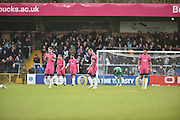 Hartlepool United Players dejected after Wycombe Wanderers Midfielder, Scott Kashket (24) scores the opening goal 1-0 during the EFL Sky Bet League 2 match between Wycombe Wanderers and Hartlepool United at Adams Park, High Wycombe, England on 26 November 2016. Photo by Adam Rivers.