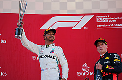 May 13, 2018 - Barcelona, Spain - Lewis Hamilton, team Mercedes, and Max Verstappen, team Red Bull, in the podium of the GP Spain F1, on 13th May 2018 in Barcelona, Spain. (Credit Image: © Joan Valls/NurPhoto via ZUMA Press)