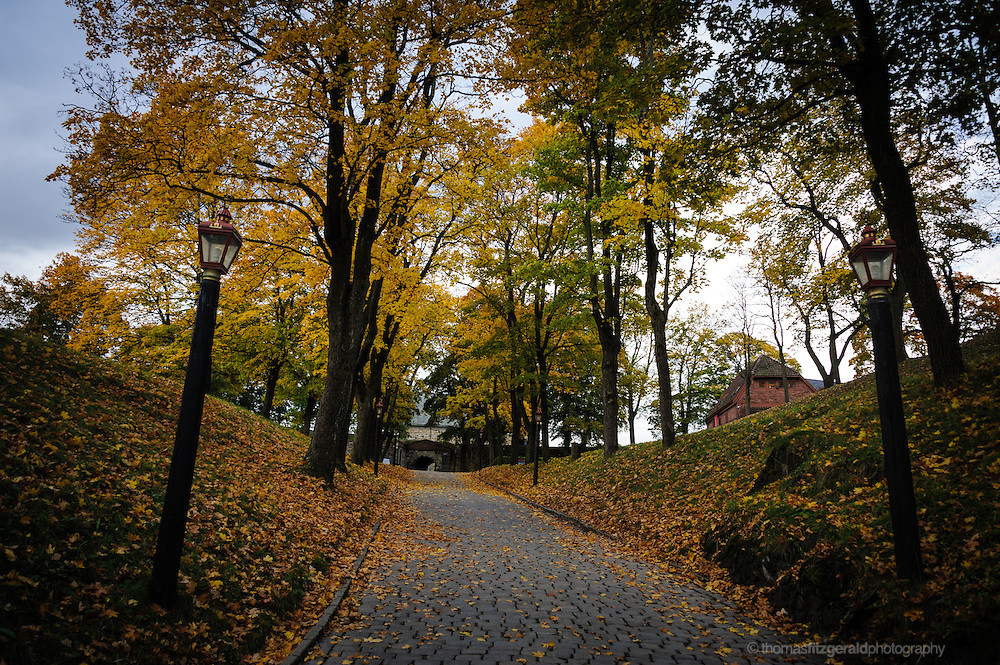 Oslo, Norway, October 2012: Fall colours in the grounds of the Oslo Fortress