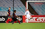 SYDNEY, NSW - JANUARY 18: Adelaide United defender Jordan Elsey (23) stops a shot by Western Sydney Wanderers midfielder Roly Bonevacia (28) at the Hyundai A-League Round 14 soccer match between Western Sydney Wanderers and Adelaide United at ANZ Stadium in NSW, Australia 18 January 2019. Image by (Speed Media/Icon Sportswire)