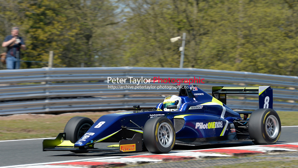 #8 Kaylen FREDERICK (USA) Carlin  during British F3 Championship as part of the British F3 / GT Championship at Oulton Park, Little Budworth, Cheshire, United Kingdom. April 19 2019. World Copyright Peter Taylor/PSP. Copy of publication required for printed pictures.