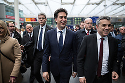 © Licensed to London News Pictures .31/03/2015 . Manchester , UK . ED MILIBAND , the leader of the Labour Party , arrives at Manchester Piccadilly train station to board the party election battle bus at the start of his campaign to be the next British Prime Minister . Photo credit : Joel Goodman/LNP