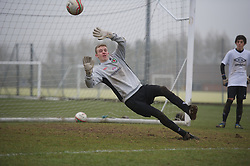 CARDIFF, WALES - Thursday, March 15, 2012: Wales U16's Lewis Thomas (Swansea City FC & Pentrehafod Comprehensive) during a training session at the Glamorgan Sports Park. (Pic by David Rawcliffe/Propaganda)