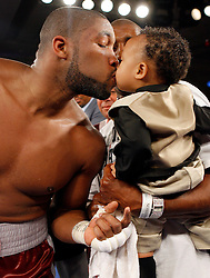 July 27, 2007; Saratoga Springs, NY, USA; Chazz Witherspoon, nephew of former heavyweight champion Tim Witherspoon, celebrates after knocking out Talmadge Griffis in the 9th round of their scheduled 10 round heavyweight bout at the Saratoga Springs City Center.