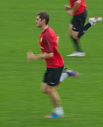 CARDIFF, WALES - Saturday, September 8, 2012: Wales' Ben Davies during a training session at the Vale of Glamorgan ahead of the 2014 FIFA World Cup Brazil Qualifying Group A match against Serbia. (Pic by David Rawcliffe/Propaganda)
