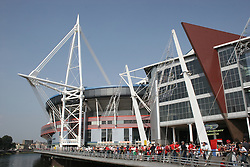 CARDIFF, WALES - SATURDAY, SEPTEMBER 3rd, 2005: Wales fans gather outside the Millennium Stadium before the World Cup Qualifier against England. (Pic by Zaneta Kukucova/Propaganda)