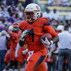 Sep 23, 2017; Baton Rouge, LA, USA; Syracuse Orange running back Dontae Strickland (4) before a game against the LSU Tigers at Tiger Stadium. Mandatory Credit: Derick E. Hingle-USA TODAY Sports