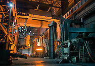 "A 3,000-degree Fahrenheit electric arc furnace prepares to receive a ""charge"" of scrap metal for conversion into steel at Severstal Columbus, Oct. 22, 2011. Employees' families got an inside glimpse of the entire metallurgical process during an open house and tour of the plant's one million square foot facilities Oct. 22, 2011, during ""Family Day."" (Photo by Carmen K. Sisson/Cloudybright)"