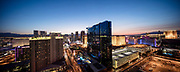 Panorama view of The Strip, Las Vegas, Nevada, USA. Hilton Grand Vacations Hotel and Casino in the centre. Night photography.