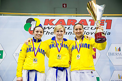 Team of Ukraine celebrate after winning during Kumite Team female at Day Two of Karate 1 World Cup - Thermana Slovenia Lasko 2014 tournament, on March 16, 2014 in Arena Tri Lilije, Lasko, Slovenia. Photo by Vid Ponikvar / Sportida