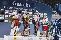 08.01.2019, Bucheben Piste, Bad Gastein, AUT, FIS Weltcup Snowboard, Parallelslalom, Damen, Siegerehrung, im Bild 2. Platz Krol Aleksandra (POL), Siegerin Riegler Claudia (AUT), 3. Platz Schoeffmann Sabine (AUT), 4. Platz Kummer Patrizia (SUI) // 2nd placed Krol Aleksandra of Poland Winner Riegler Claudia of Austria 3rd placed Schoeffmann Sabine of Austria 4th placed Kummer Patrizia of Switzerland during the winner ceremony of the women's parallel Slalom of the FIS Snowboard Worldcup at the Bucheben Piste in Bad Gastein, Austria on 2019/01/08. EXPA Pictures © 2019, PhotoCredit: EXPA/ JFK