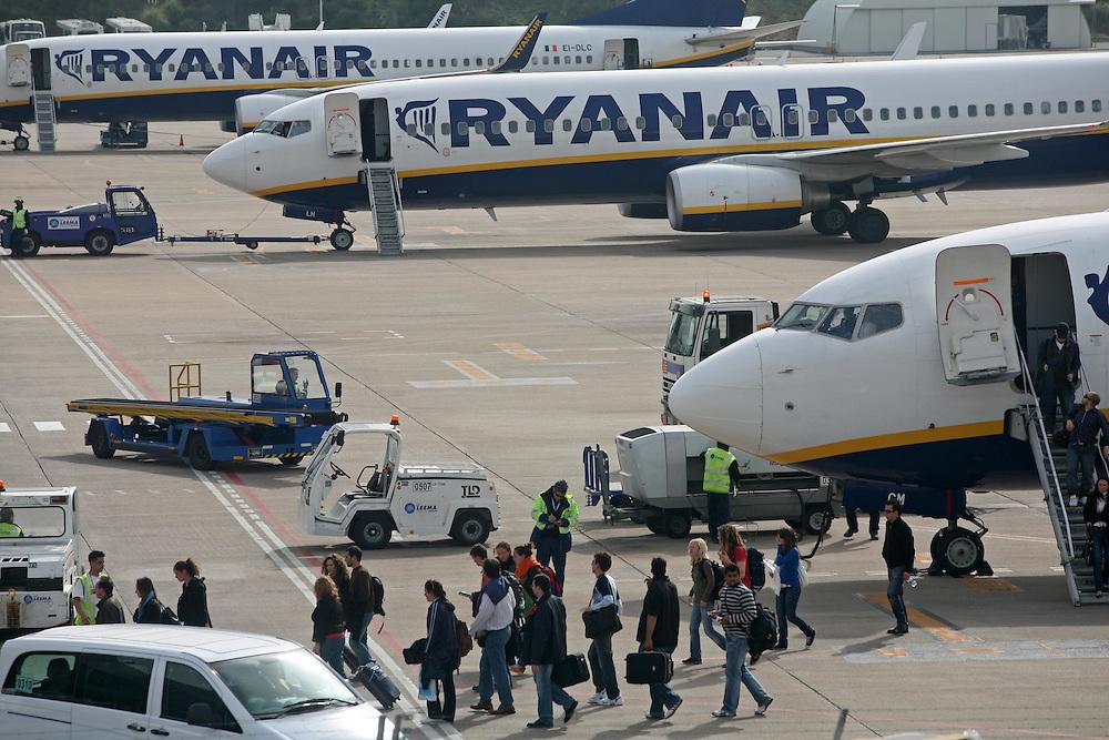 Headquarters of the Irish low cost airline company Ryanair in the airport of Girona-Barcelona..Airport of Girona-Costa Brava. Catalonia. Spain.