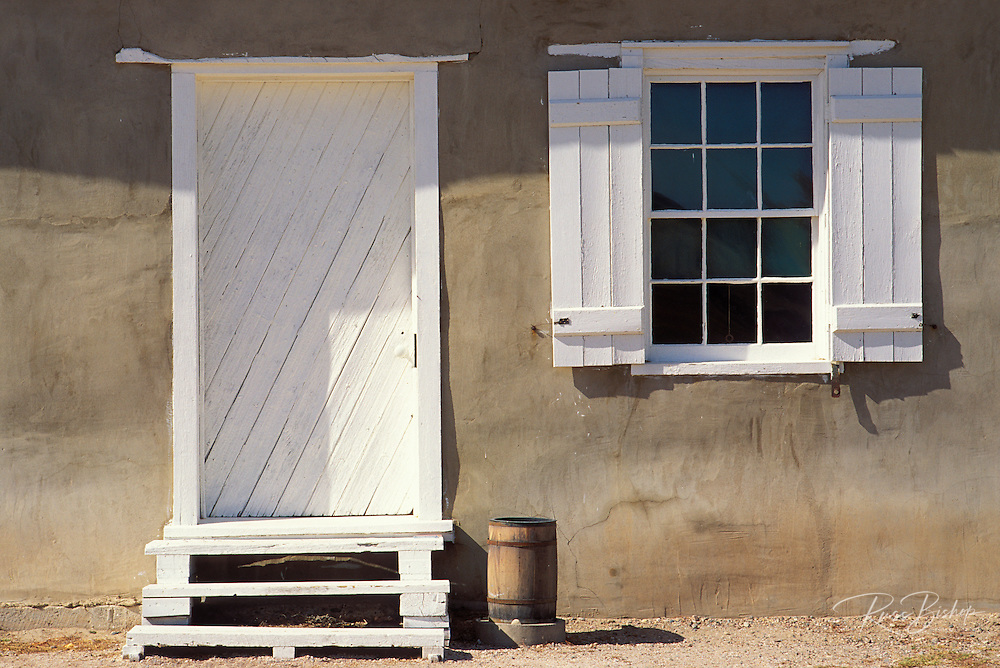 Door and window at the post trader's store, Fort Laramie National Historic Site, Wyoming