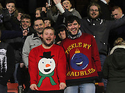 Festive happy fans at the end - Partick Thistle v Dundee - SPFL Premiership at Dens Park<br /> <br />  - &copy; David Young - www.davidyoungphoto.co.uk - email: davidyoungphoto@gmail.com