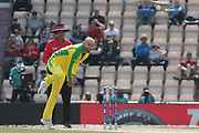 Nathon Lyon bowling during the ICC Cricket World Cup 2019 warm up match between England and Australia at the Ageas Bowl, Southampton, United Kingdom on 25 May 2019.