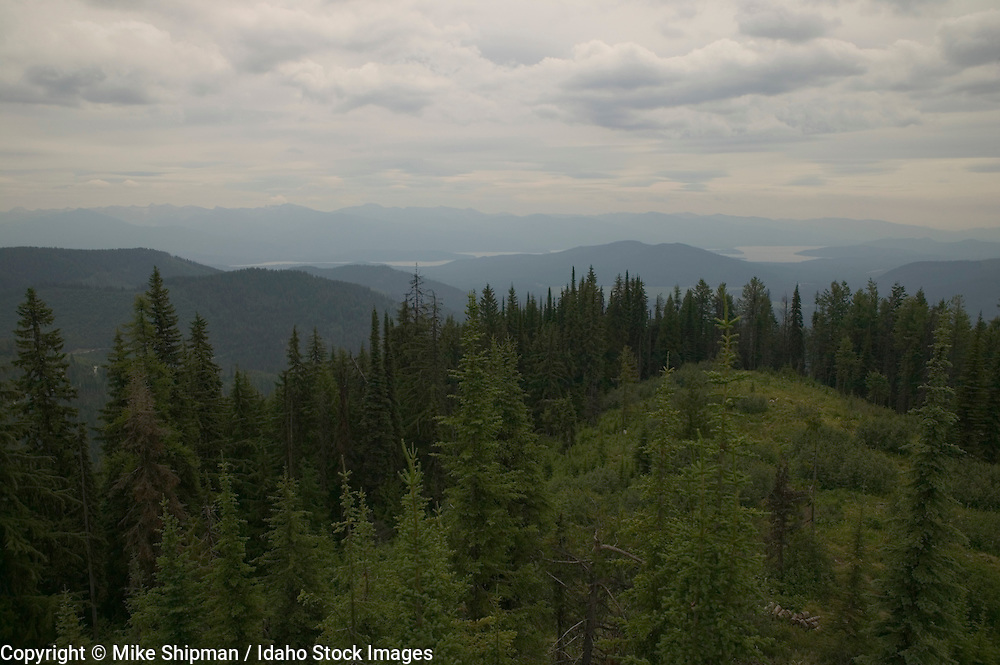 view from Indian Mountain Lookout, US Forest Service, Kaniksu National Forest, Bonner County, Idaho, USA