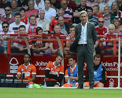 BlackPool's Manger Jose Riga looks on as his bench looks empty behind him. - Photo mandatory by-line: Alex James/JMP - Mobile: 07966 386802 09/08/2014 - SPORT - FOOTBALL - Nottingham - City Ground - Nottingham Forest v Blackpool - Sky Bet Championship - First game of the season