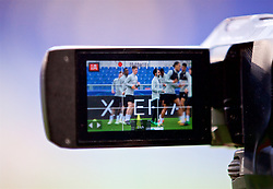 ROME, ITALY - Tuesday, May 1, 2018: Liverpool's Mohamed Salah as seen through a television camera during a training session at the Stadio Olimpico ahead of the UEFA Champions League Semi-Final 2nd Leg match between AS Roma and Liverpool FC. Liverpool lead 5-2 from the 1st Leg. (Pic by David Rawcliffe/Propaganda)