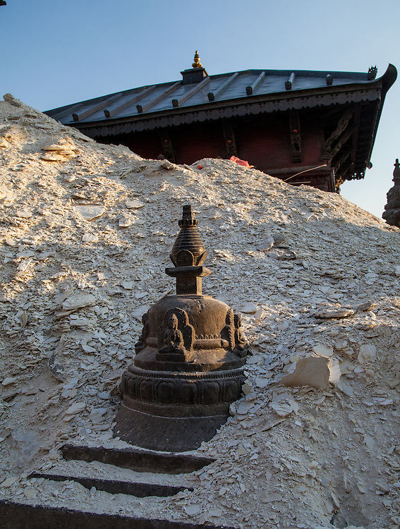 A small Stupa among the rubble of earthquake damage Swayambhunath Stupa Kathmandu, Nepal