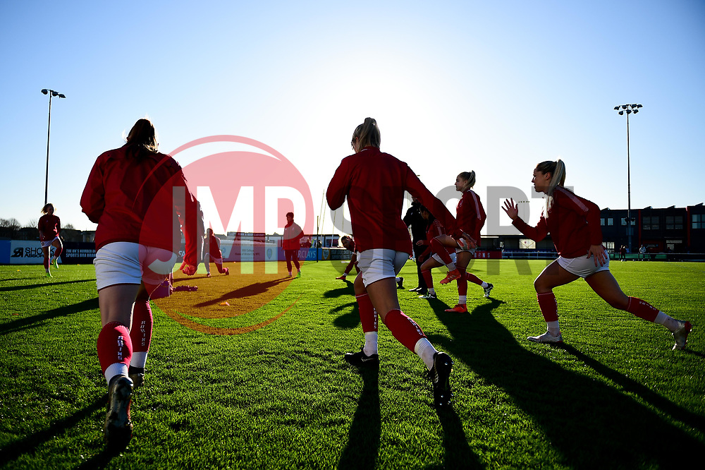 Bristol City Women warm up prior to kick off - Mandatory by-line: Ryan Hiscott/JMP - 19/01/2020 - FOOTBALL - Stoke Gifford Stadium - Bristol, England - Bristol City Women v Liverpool Women - Barclays FA Women's Super League