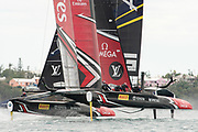 The Great Sound, Bermuda. 11th June 2017. Emirates Team New Zealand and Artemis Racing (SWE) meet in the pre start for race five of the Louis Vuitton America's Cup Challenger playoff finals. ETNZ won the race to go ahead to 3 - 2.