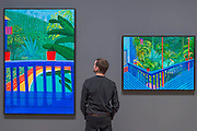 Two Pots on the Terrace and Garden #3 both 2016 (his most recent works) - David Hockney, a major new retrospective, at Tate Britain's. It includes more than 200 works and celebrates Hockney's achievement in painting, drawing, print, photography and video. As he approaches his 80th birthday, this exhibition offers an unprecedented overview of the artist's 60-year career. It runs from 9 Feb to 29 May 2017. London 06 Feb 2017.