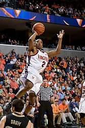 J.R. Reynolds (2) heads to the basket against Wake Forest.  Reynolds scored a career high 40 points in the game as the Virginia Cavaliers defeated the Wake Forest Demon Decons 88-76 at the John Paul Jones Arena in Charlottesville, VA on January 21, 2007.