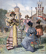 Springtime in Paris:  Women at a race meeting at Longchamp, France's most famous racecourse, first race run on Sunday, 27 April 1857.  From 'Le Petit Journal', Paris, 29 April 1893. Fashion, Sport, Horse, Hippodrome