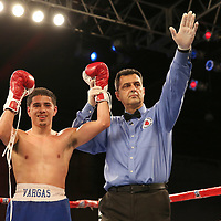Olympian Antonio Vargas celebrates a victory over Luis Fernando Saavedra during a Telemundo boxing match between at Osceola Heritage Park on Friday, February 23, 2018 in Kissimmee, Florida.  (Alex Menendez via AP)