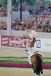 Grün, Gera-Marie (GER);<br /> Van, Justin (GER), Danny Boy<br /> Aachen - Europameisterschaften 2015<br /> Voltigieren Pas de Deux Finale Kür,<br /> © www.sportfotos-lafrentz.de/Stefan Lafrentz