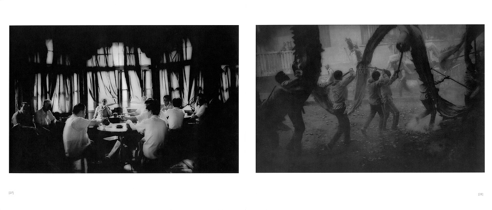 L:  Morning tea at the Wuxingting Teahouse.  Shanghai, China.  1997..R:  Firecrackers rain down on a dragon dance, Chinese New Year festival.  Yangshuo, Guangxi Province, China.  1998