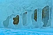 Ice on shore of Georgian Bay<br />Tobermory<br />Ontario<br />Canada